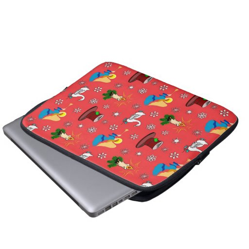 Christmas – White Swans & Brown Top Hats Laptop Computer Sleeves