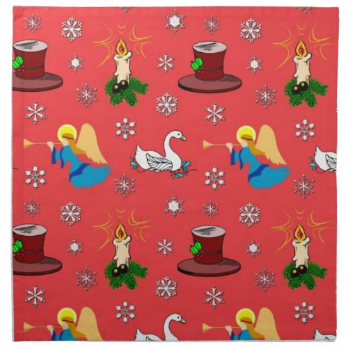 Christmas - White Swans & Brown Top Hats Napkin