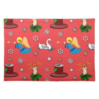 Christmas - White Swans & Brown Top Hats Cloth Placemat