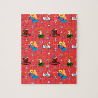Christmas – White Swans & Brown Top Hats Jigsaw Puzzle
