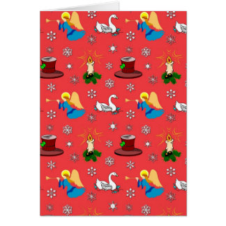 Christmas – White Swans & Brown Top Hats Vertical Card