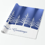 Christmas White Trees Snow Wrapping Paper