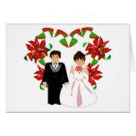 Christmas White Wedding Floral Heart Wreath Card Greeting Card