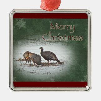 Christmas Wild Turkey in Snowy Field Metal Ornament