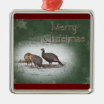 Christmas Wild Turkey in Snowy Field Square Metal Christmas Ornament