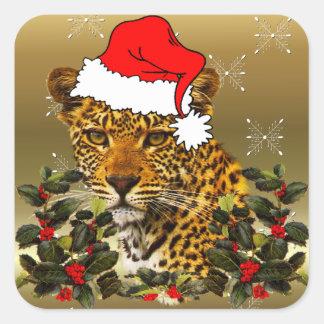 Christmas Wildcat Square Sticker