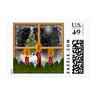 Christmas Window USPS Holiday Card Stamp 2016