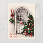 Christmas Window Vintage Postcard