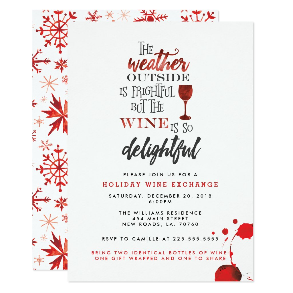 Christmas Wine Exchange Party Invitation