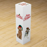 """Christmas Wine Gift Box w/ dogs<br><div class=""""desc"""">Christmas Wine Gift Box w/ golden doodle,  basset hound,  Scottish terrier and a Tree walking coon hound  Created by bearsandmore</div>"""