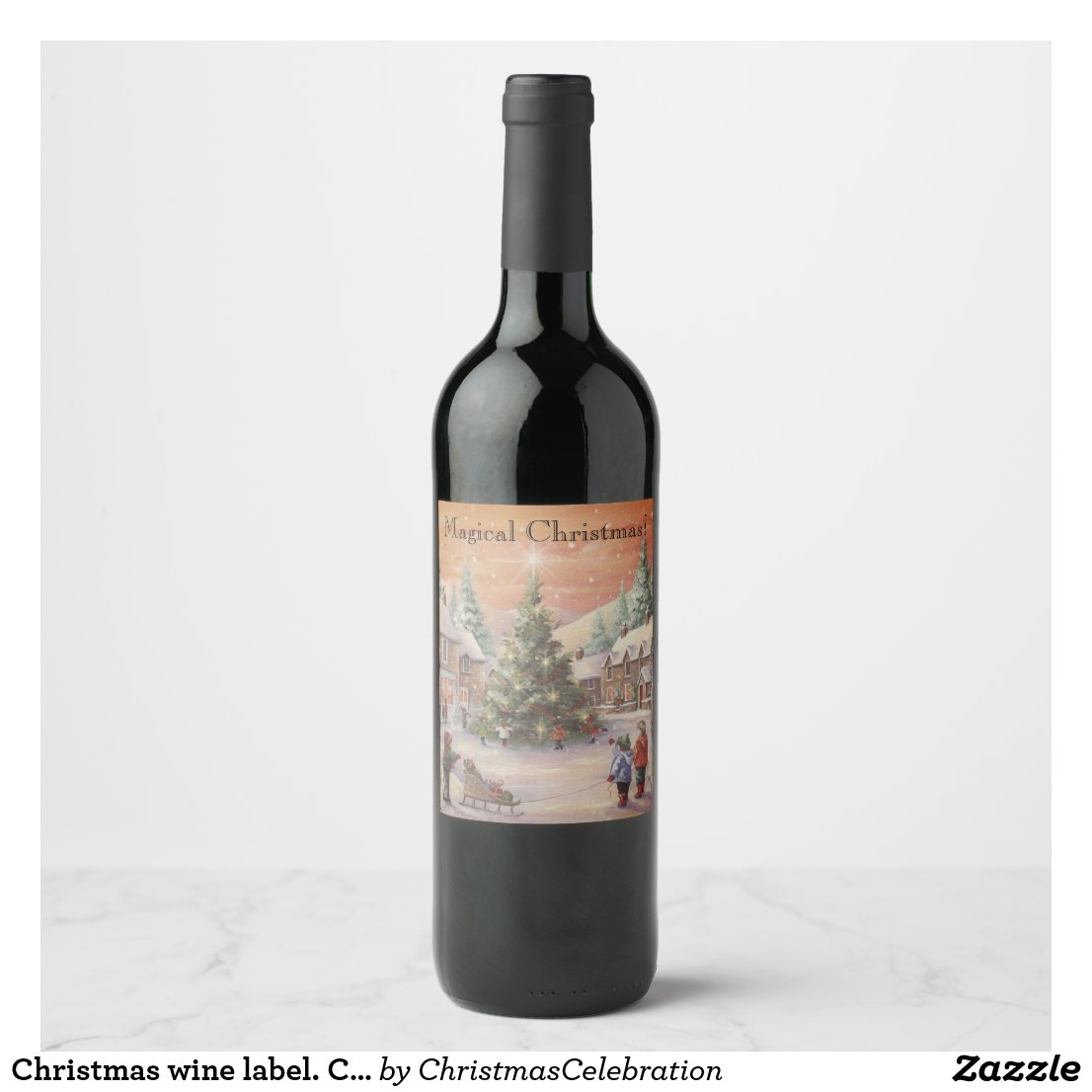 Christmas wine label. Customizable. Traditional. Wine Label