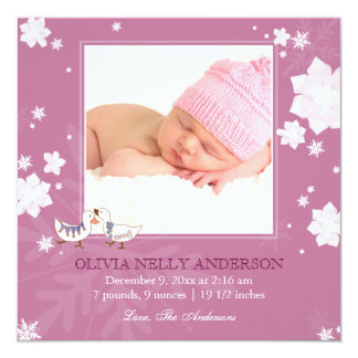 Christmas Winter Baby Girl Pink Birth Announcement