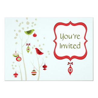 Christmas Winter Birds Wedding Invitation