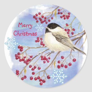 Christmas, Winter Chickadee Bird Classic Round Sticker