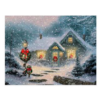 Christmas Winter Cottage Postcard