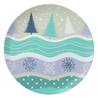 Christmas Winter Fir Trees Snowflakes Snow Melamine Plate
