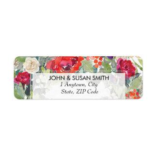 christmas winter floral return address labels