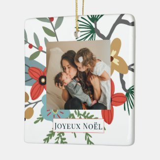 Christmas Winter Flowers Joyeux Noël Holiday Photo Ceramic Ornament