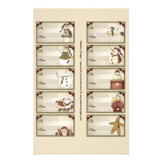 Christmas & Winter Gift Tags on a Sheet