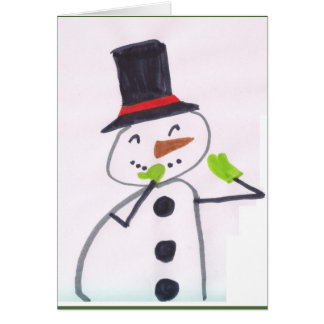 Christmas Winter Holiday Snowman - Child Art Card