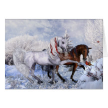 Christmas Winter Horses Note Card