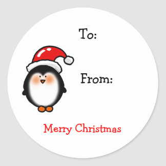 Christmas winter penguin gift tags classic round sticker