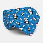 Christmas Winter Penguin on Custom Blue Background Neck Tie
