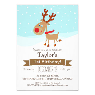 Christmas Winter Reindeer, Kid's Birthday Party 5x7 Paper Invitation Card