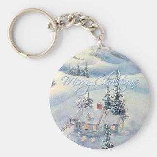 CHRISTMAS WINTER SCENE by SHARON SHARPE Keychain
