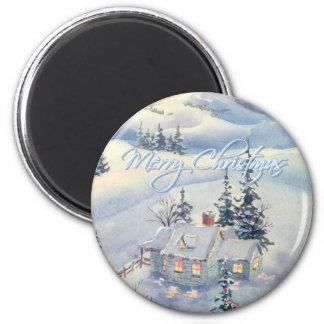 CHRISTMAS WINTER SCENE by SHARON SHARPE Refrigerator Magnet