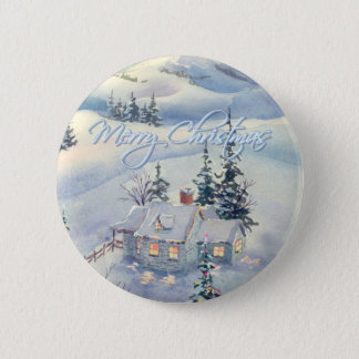 CHRISTMAS WINTER SCENE by SHARON SHARPE Pinback Button