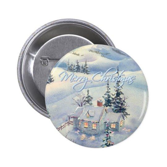 CHRISTMAS WINTER SCENE by SHARON SHARPE Pinback Button
