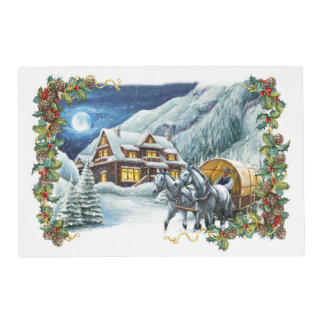 Christmas Winter Scene Laminated Placemat