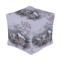 christmas winter scene silver cube pouf