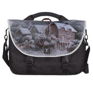 christmas winter scene,silver laptop commuter bag