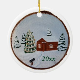 Christmas Winter Snow Scene Cabin Trees Ornaments