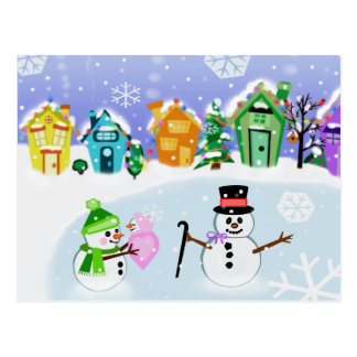 Christmas Winter Snowman Family Postcard