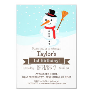 Christmas Winter Snowman, Kid's Birthday Party Card at Zazzle