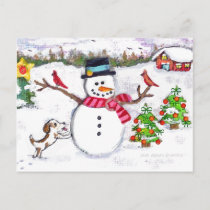 Christmas Winter Snowman & Puppy Dog Postcard