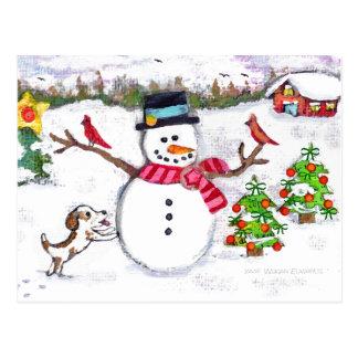 Christmas Winter Snowman Puppy Dog Postcard