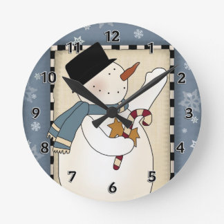 Christmas Winter Snowman Wishes Round Clock