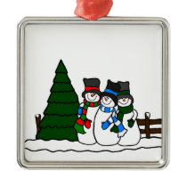 Christmas Winter Snowmen Friends Metal Ornament