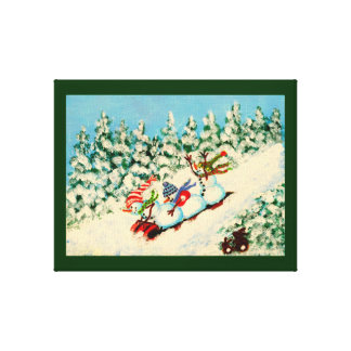 Christmas,winter,snowmen,rabbits,sled,bunnys Canvas Print