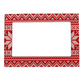 Christmas Winter Sweater Knitting Pattern - RED Magnetic Photo Frame
