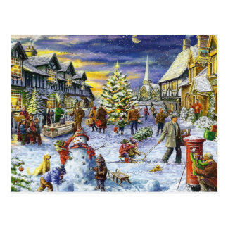 Christmas Winter town Postcard