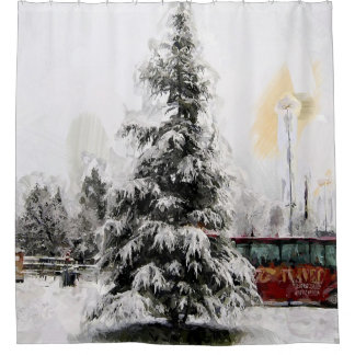 christmas winter tree shower curtain