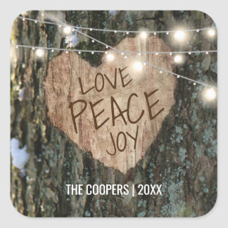 Christmas Winter Tree with Love Peace Joy Square Sticker