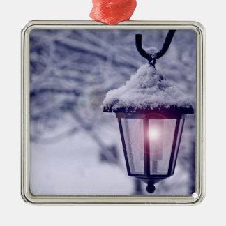 Christmas winter white xmas lantern snow ornament