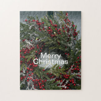 Christmas Winter Wreath Red Berries Icicles Jigsaw Puzzle