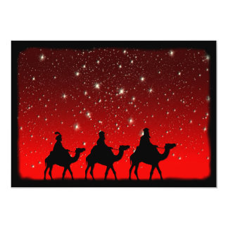 Christmas Wise Men Red Sky Star Lite Night 5x7 Paper Invitation Card